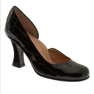 Anyi Lu Patent Leather Croc Print Heels